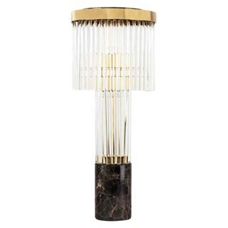 Monticello Table Lamp with Emperador Marble Base | Touched Interiors