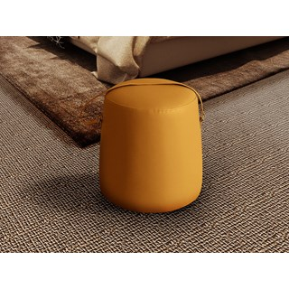 Ochre Leather Upholstered Trinity Stool | Touched Interiors