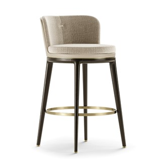 Octavian Bar Stool With Leather Backrest | Touched Interiors