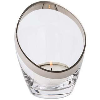 Opera Curved Clear Glass Tea Light Holder Set | Touched Interiors
