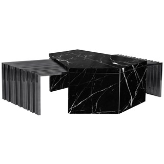 Orbit Polished Brass & Marble Luxury Centre Table | Touched Interiors