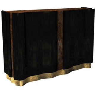 Orchard Gold Leaf, Walnut & Black Lacquered Sideboard
