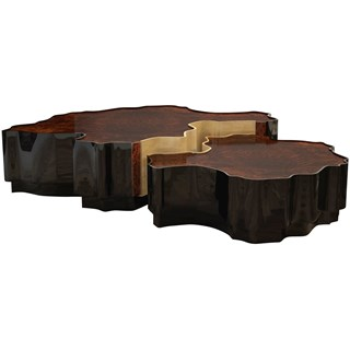 Orchard Walnut Wood, Black Lacquer & Gold Leaf Centre Table
