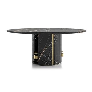 Round Marble Oriol Dining Table With Metal Detailing | Touched Interiors