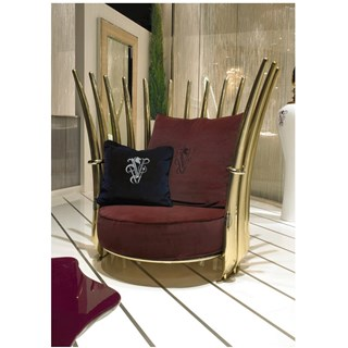 Panache Outdoor Upholstered Steel Lacquered Italian Armchair