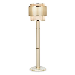 Polished Gold & Metal Mesh Paros Floor Lamp | Touched Interiors