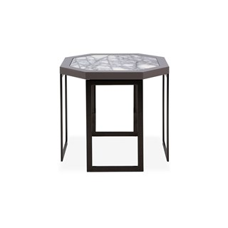 Black Nickel Octagonal Perla Side Table With Marble Top | Touched Interiors