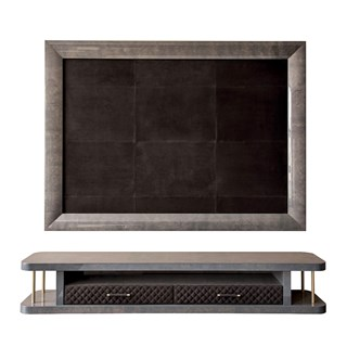 Upholstered Leather Perseus TV Frame & Cabinet With Quilted Drawers | Touched Interiors