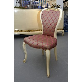 Glossy rustic distressed cream and gold leaf carving Pink dining chair