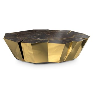 Polished brass & Walnut root veneer round coffee table