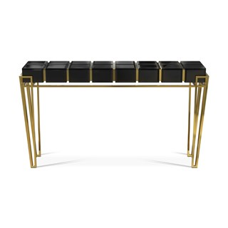 Polished brass, Black glass, Black lacquer & Walnut root veneer console table