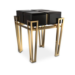 Polished brass, Black lacquer & Black glass Side Table