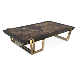 Polished brass, Black lacquer & Emperador dark marble coffee table