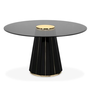 Polished brass, Black lacquer & Smoked glass circular dining table
