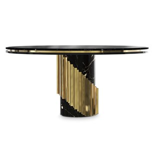 Polished Brass, Black Lacquer, Marble Nero Marquina Round Dining Table