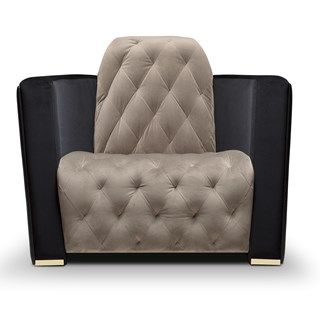 Polished Brass, Black Leather & Velvet Modern Buttoned Armchair