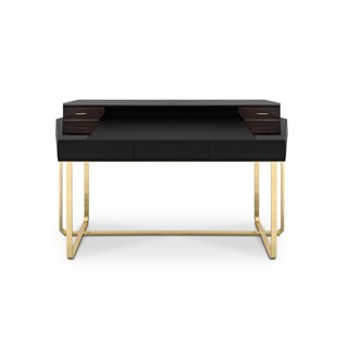 Polished Brass Luxury Walnut Root Writing Desk with Black Leather