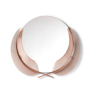 Rose Gold Casted Palm Leaf Round Mirror | Touched Interiors