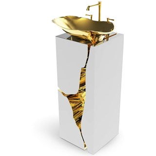Polished Brass And Mirrored Free-standing Washbasin