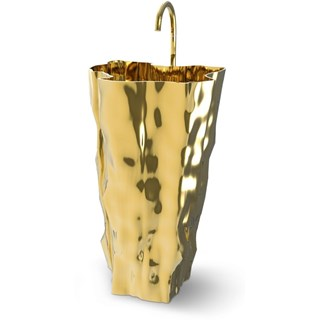 Polished Carved Cast Brass Free-standing Washbasin