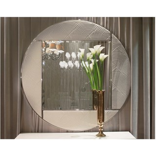 Polished Stainless Steel Upholstered Quilted Round Italian Mirror