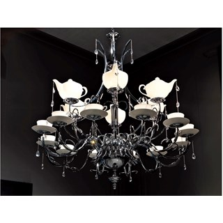 Pomarance Italian Chromed Brass 18 Bulb Crystal Chandelier