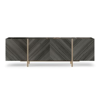 Prometheus Sideboard With Eucalyptus Veneer & Marble Top | Touched Interiors
