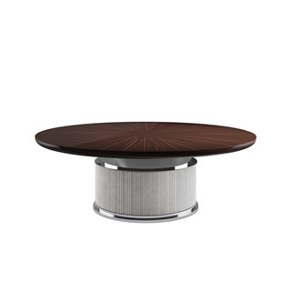 Round Rasha Dining Table With Base Upholstered Leather | Touched Interiors