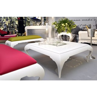 French glossy white and silver leaf carving coffee table