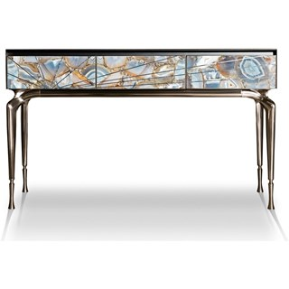 Redolence Italian Stainless Steel Lacquered & Marble Console Table