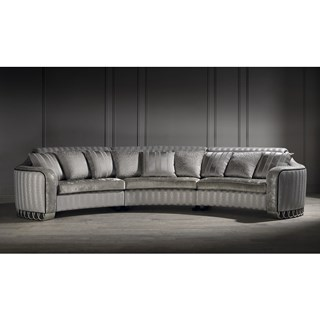Ringo Smoke Grey Silver Upholstered Curved Unit Sofa