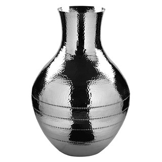 Ripple Nickel Plated Round Floor Vase | Touched Interiors
