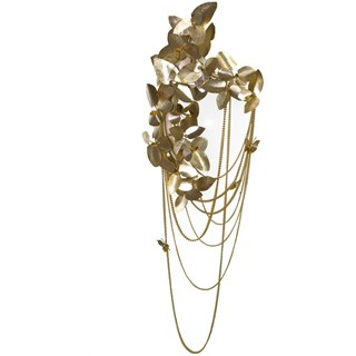 Rococo Hammered Gold Plated Brass & Swarovski Crystal Wall Light