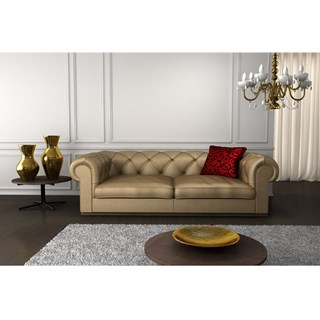 Classic Upholstered Gold Button Tufted Chesterfield Sofa