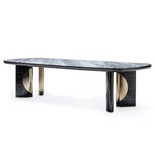 Rectangular High Gloss Satchi Dining Table With Marble Top | Touched Interiors