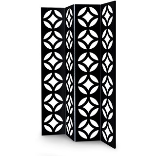 Solid Wood Carved Black Folding Screen