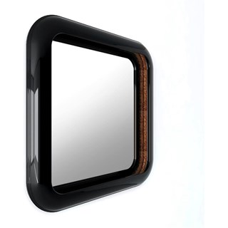 Solid Wood Carved High Gloss Black and Gold Gilded Square Mirror