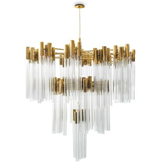 Spire Gold Plated Brass & Crystal Chandelier
