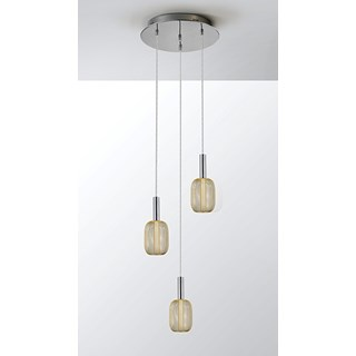 Gold Metal Mesh Tiziano Three Pendant Light | Touched Interiors