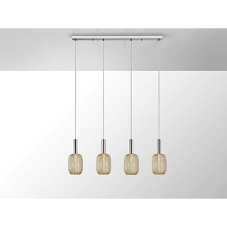 Gold Metal Mesh Tiziano Four Pendant Light | Touched Interiors