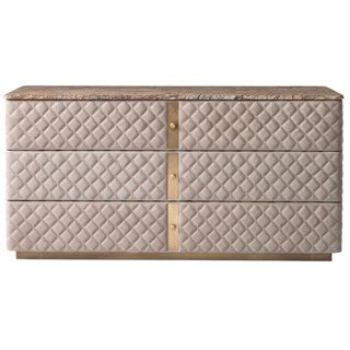 Diamond Quilted Debonaire Dresser with Marble Top | Touched Interiors