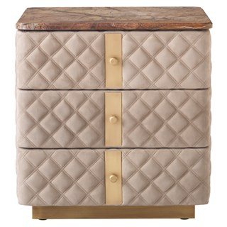 Diamond Quilted Debonaire Nightstand with Marble Top | Touched Interiors