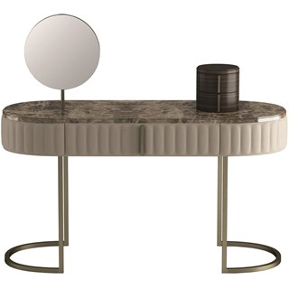 Touched D Amphora Leather, Brass & Marble Dressing Table
