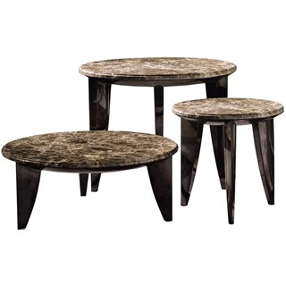 Touched D Brushed Gloss & Marble Top Round Coffee & Side Table