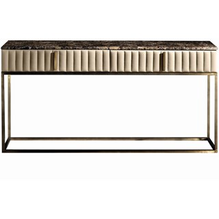 Touched D Burnished Brass, Leather & Marble Top Console Table With Drawers
