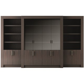 Touched D Canaletto Walnut With Glass Doors Bookcase