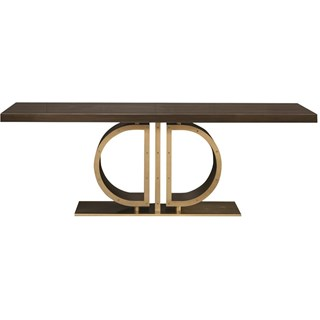Touched D Curved Gloss Canaletto Walnut & Brass Dining Table