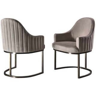 Touched D Amphora Upholstered Quilted Leather & Brass Chair