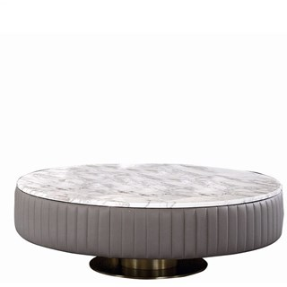 Touched D Gold Brass, Leather & Marble Top Round Coffee Table