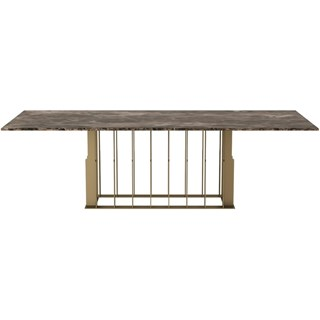 Touched D Gold Emperador Marble Top & Burnished Brass Rectangle Dining Table